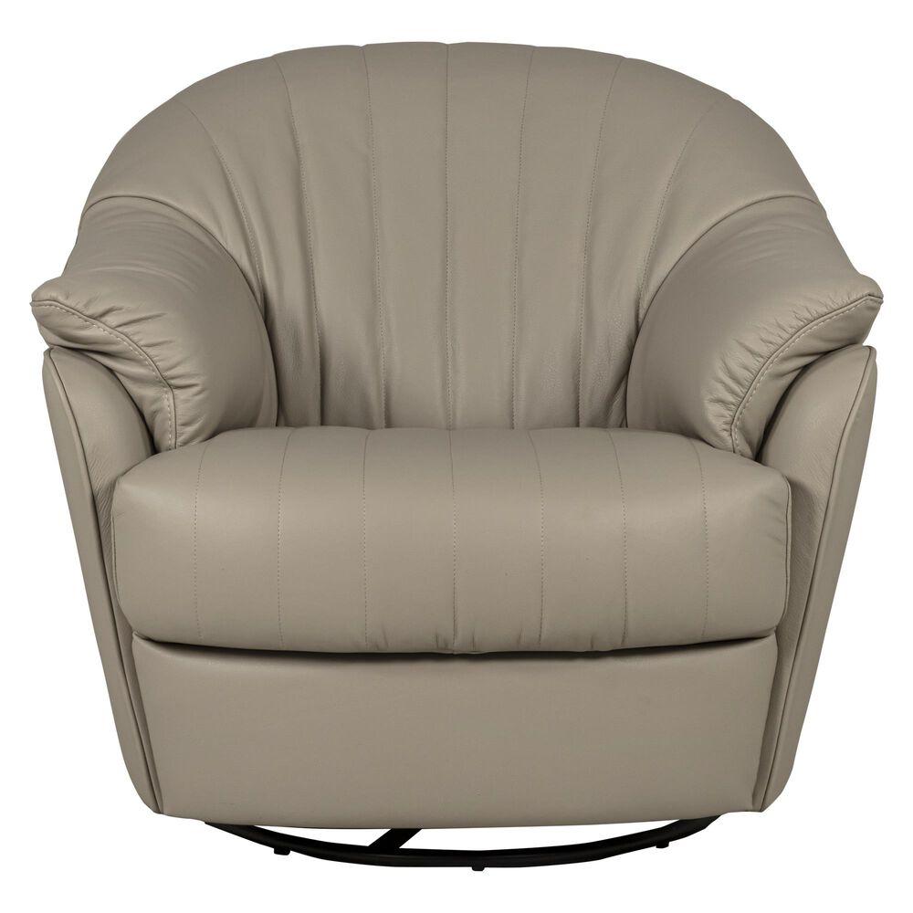 Natuzzi Editions Gratitudine Leather Swivel Rocker Chair in Greige, , large