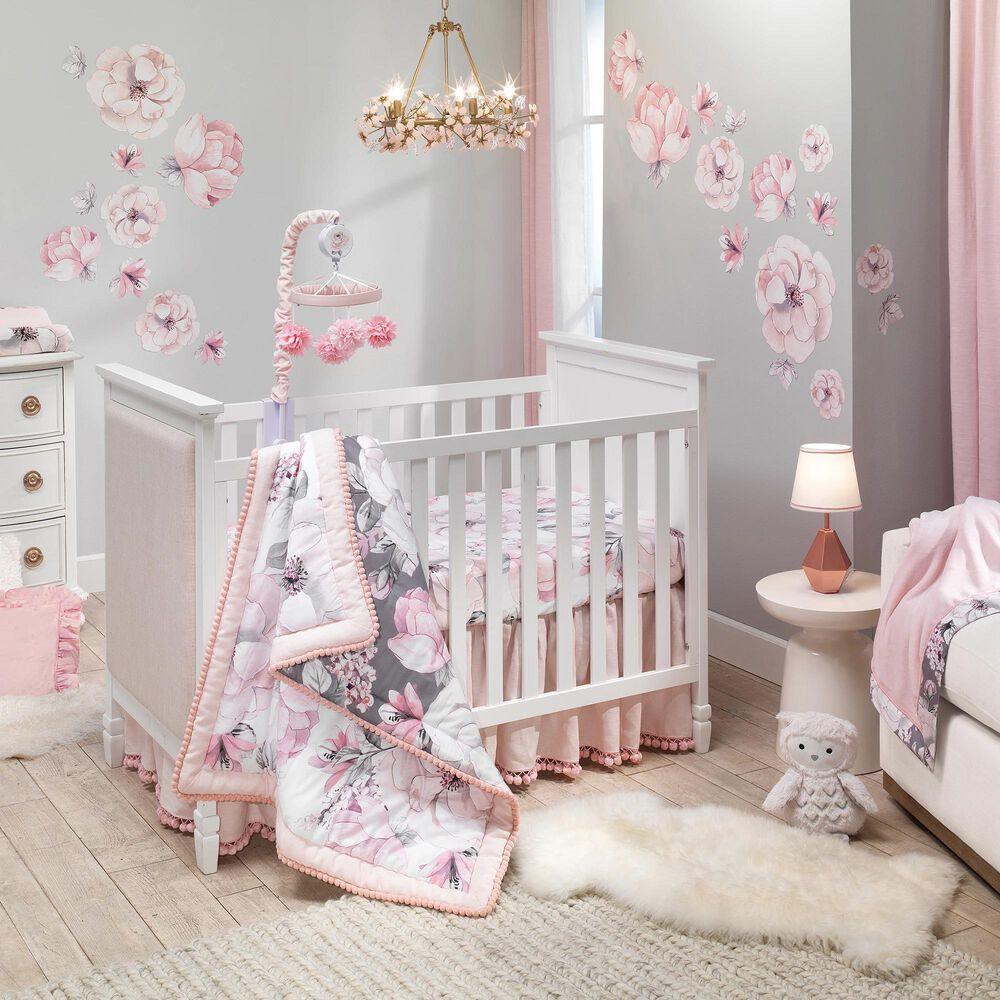 Lambs and Ivy Signature Botanical Baby Watercolor Floral Crib Quilt in Pink and Gray, , large