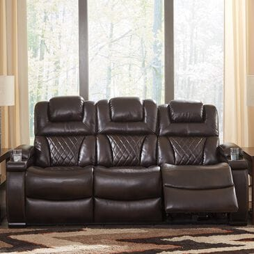 Signature Design by Ashley Warnerton Power Sofa with Headrest in Chocolate, , large