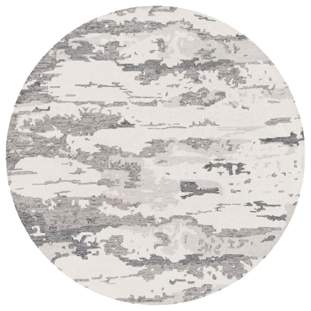 Safavieh Abstract 6' Round Charcoal and Ivory Area Rug, , large