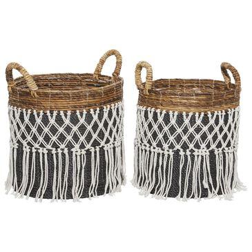 Maple and Jade Bohemian Banana Leaf Storage Basket in Black Set of 2, , large