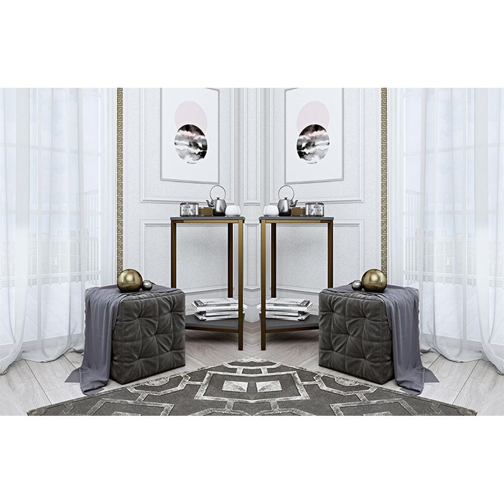 CosmoLiving by Cosmopolitan CosmoLiving Scarlett End Table Set in Graphite Gray and Gold, , large