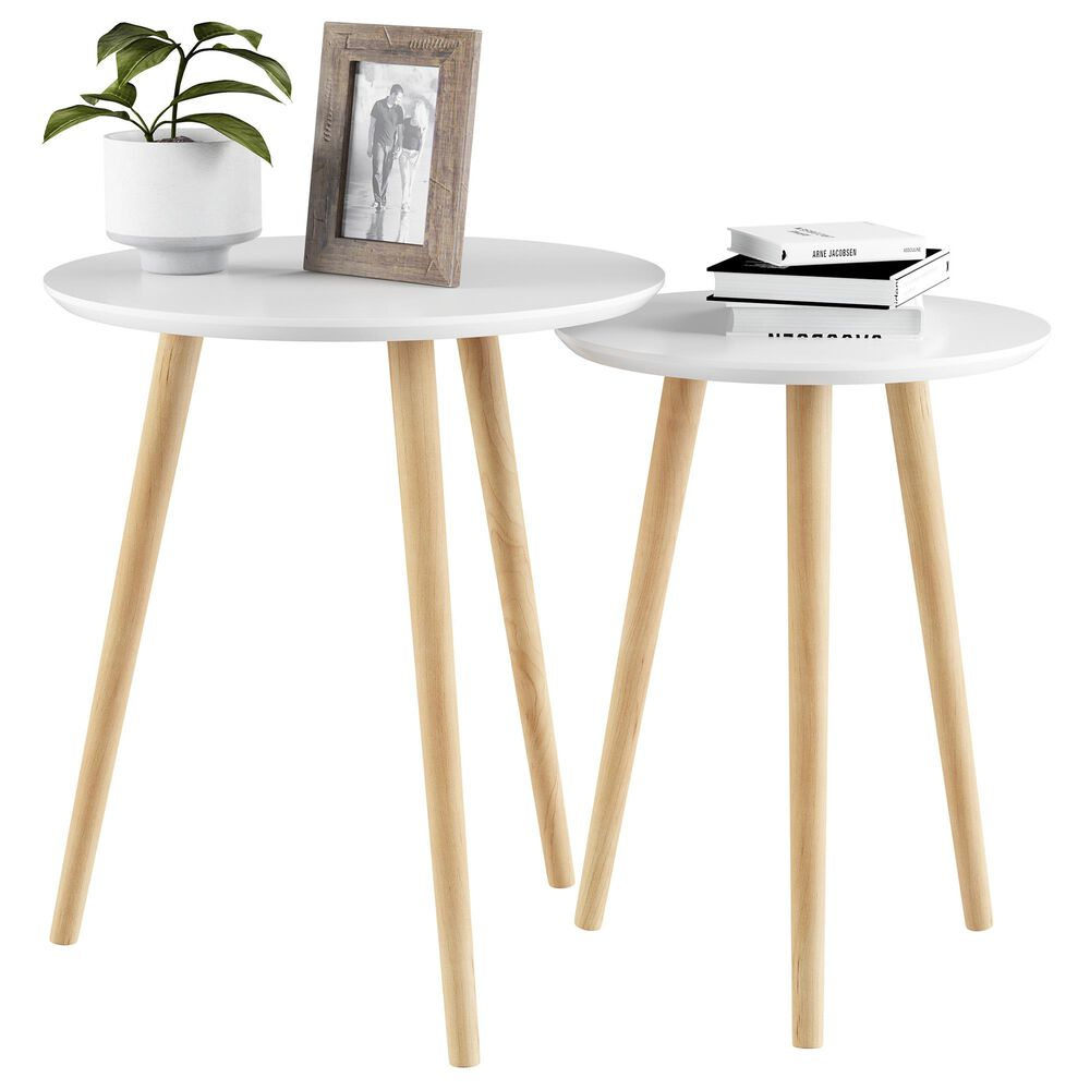 Timberlake Hastings Home End Table in White (Set of 2), , large