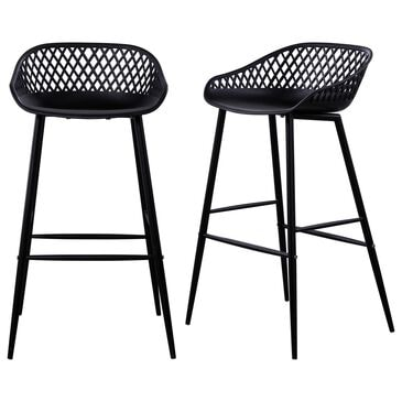 Moe's Home Collection Piazza Patio Barstool in Black (Set of 2), , large