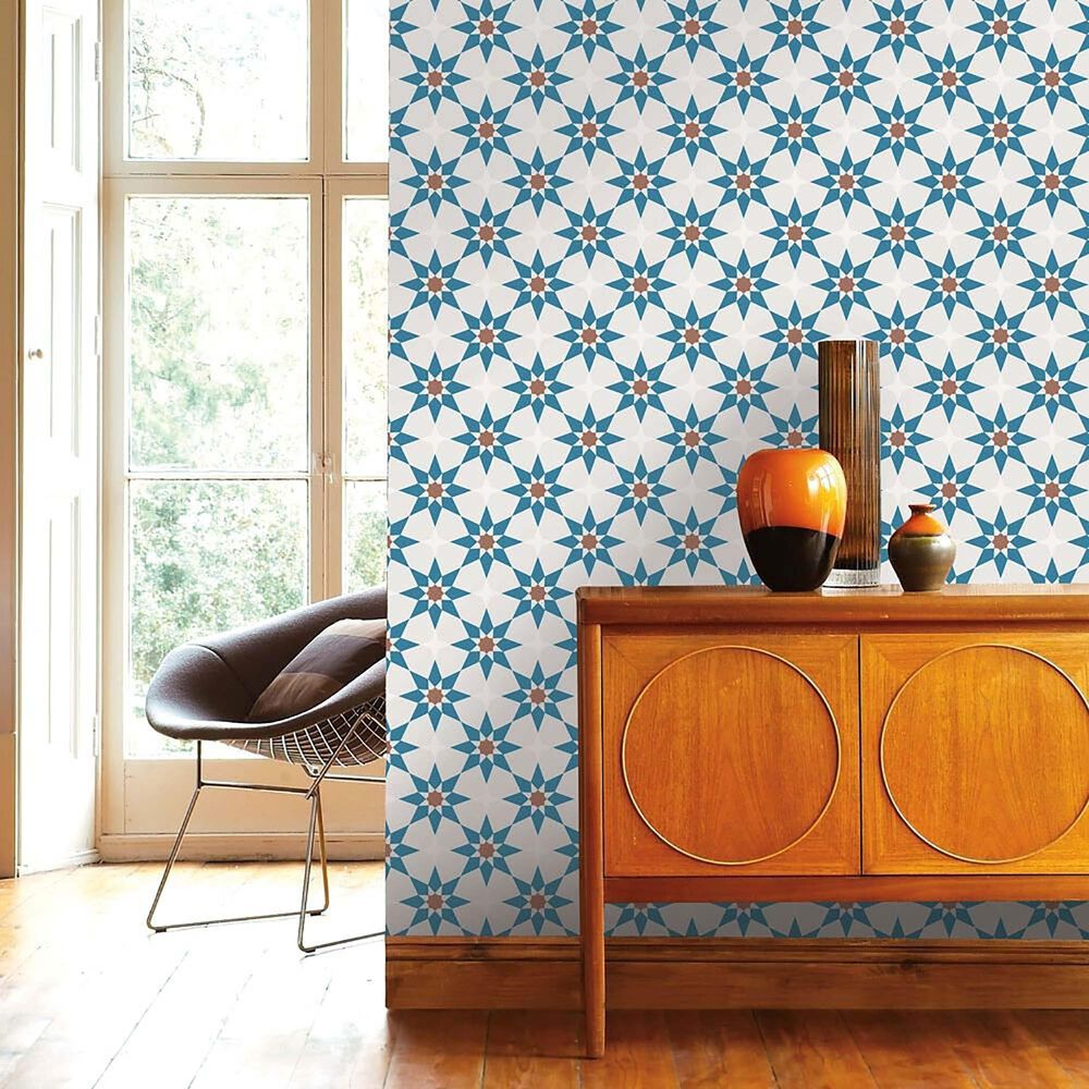 Tempaper Soleil Terracotta & Blue Peel and Stick Wallpaper, , large