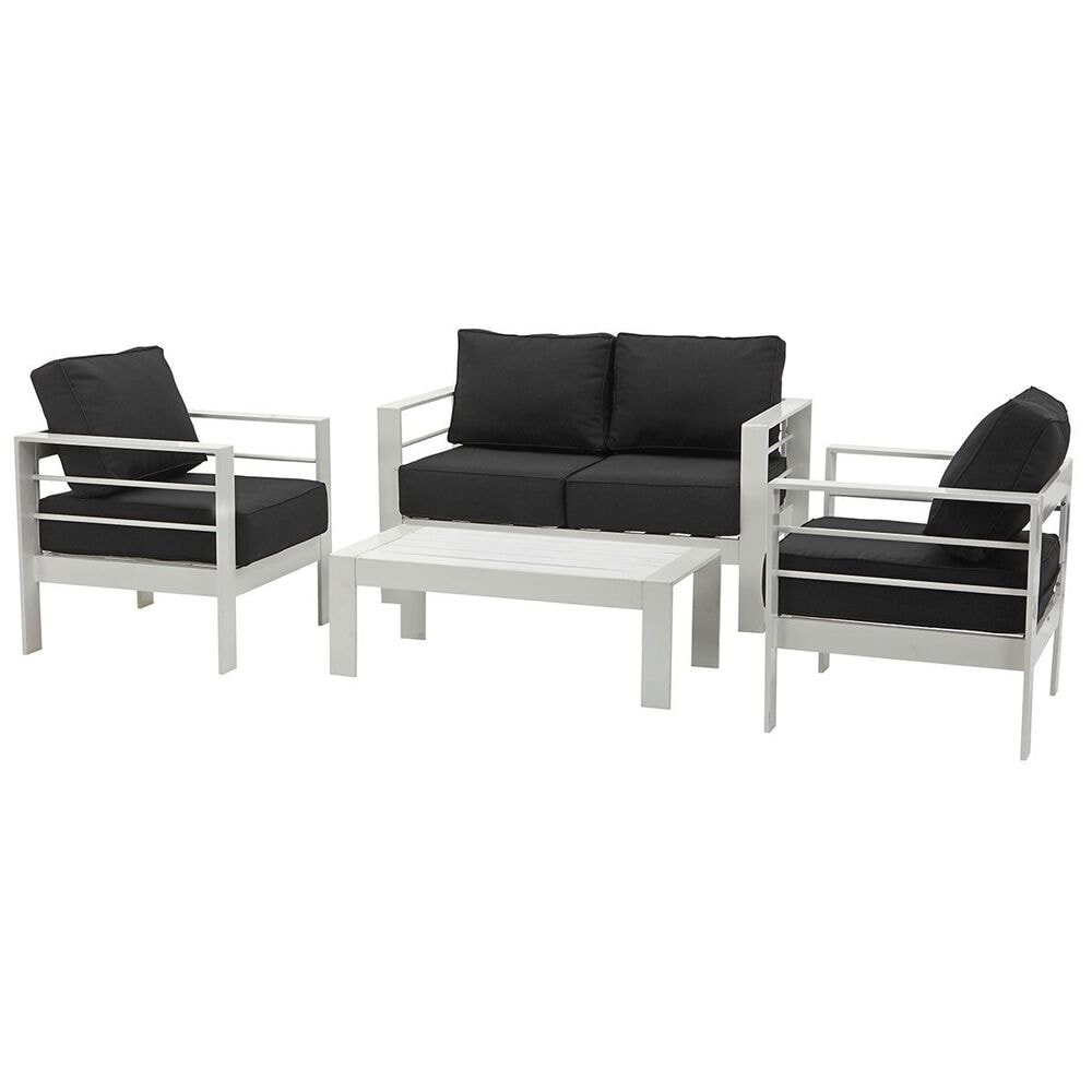 Safavieh Nason 4-Piece Outdoor Living Set in White and Black, , large