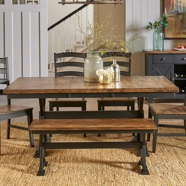 A-America Stone Creek Trestle Dining Table in Chicory and Slate Black - Table Only, , large