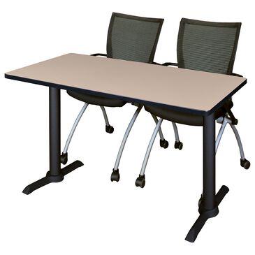 Regency Global Sourcing Cain 3-Piece Training Table Set in Beige/ Black, , large