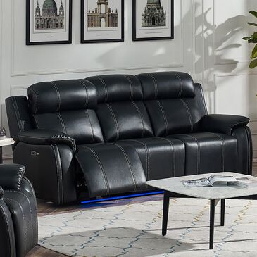 New Heritage Design Fusion Power Reclining Sofa in Ebony, , large