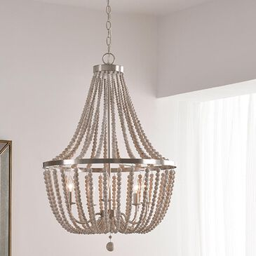 Kenroy Dumas 5-Light Chandelier in Brushed Steel with White Wood Beads, , large