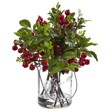 Nearly Natural Inc Berry Boxwood in Glass Jar, , large