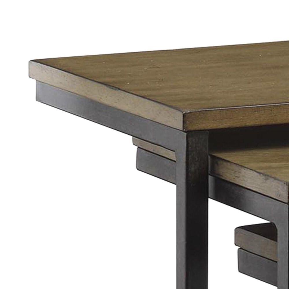 Carolina Cottage Addison Nesting C Table Set in Harvest Oak and Aged Iron, , large