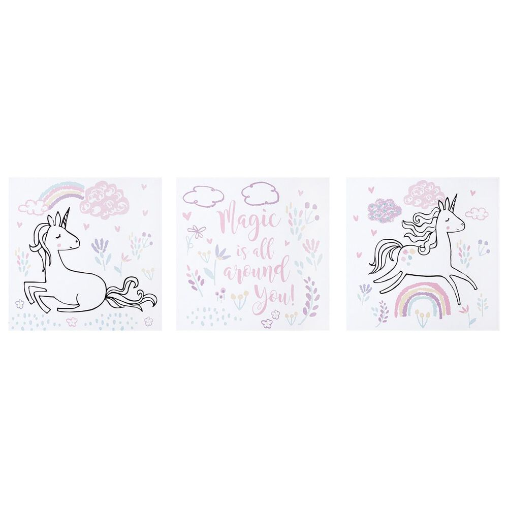 Trend Labs Magical Unicorn 3-Piece Canvas Wall Art in White, , large