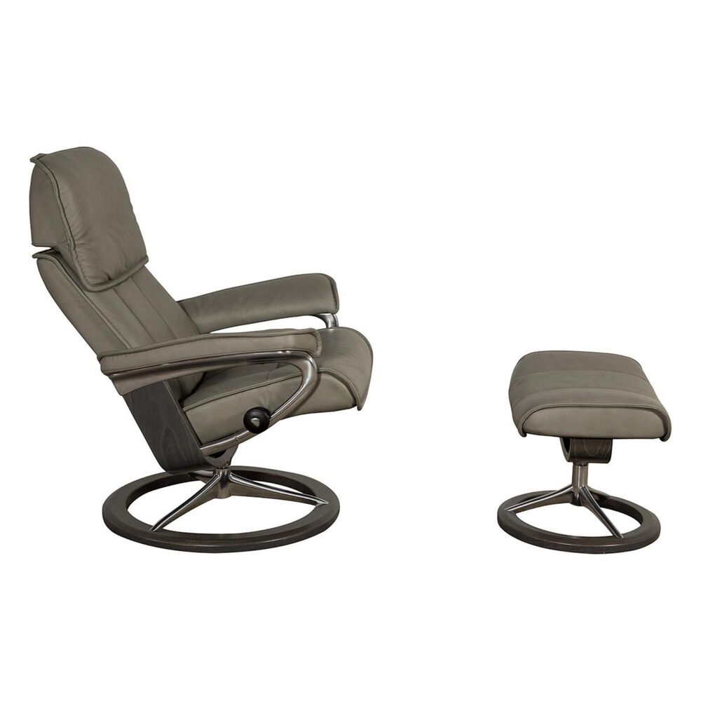 Ekornes Admiral Medium Leather Signature Chair and Ottoman in Paloma Silver Gray, , large