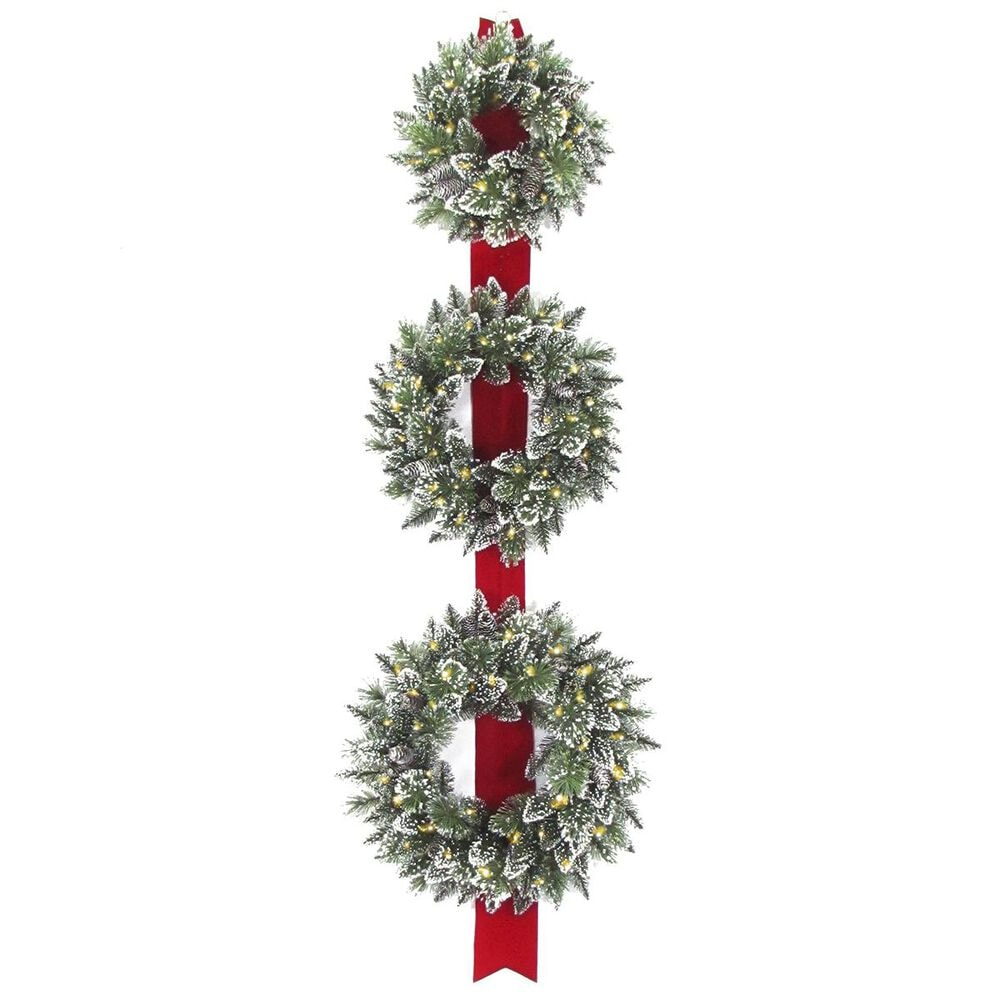 """National Tree 77"""" Glittery Bristle Triple Wreath Door Hang with Warm White LED Lights, , large"""