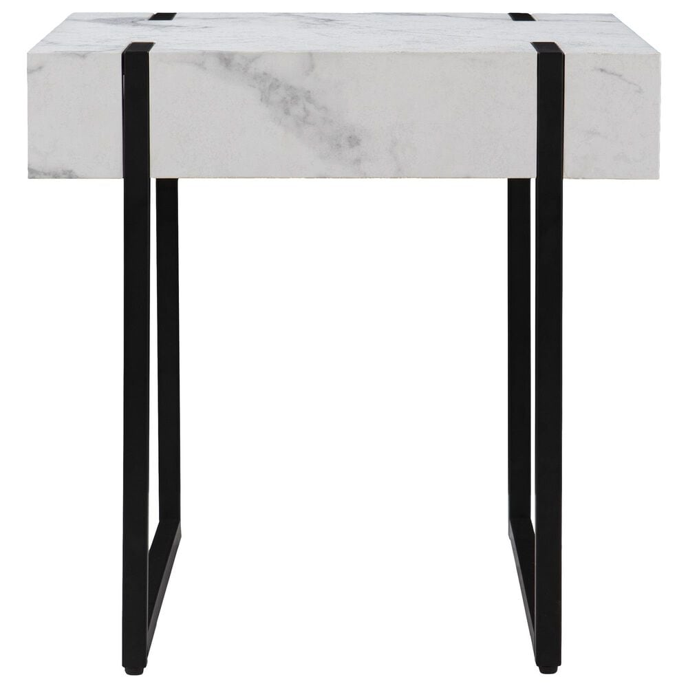 Southern Enterprises Rangley End Table in Black and White Faux Marble, , large
