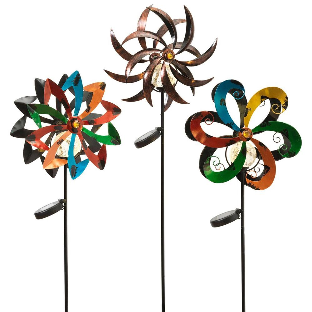 """The Gerson Company 43"""" Solar Wind Spinners (Set of 3), , large"""