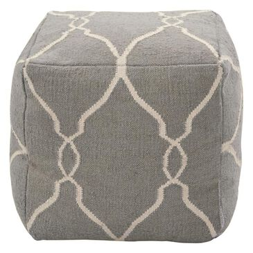 """Surya Inc 18"""" x 18"""" Pouf in Elephant Gray and Papyrus, , large"""