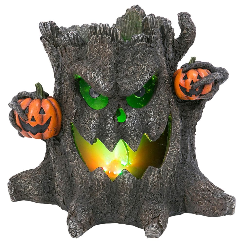 """The Gerson Company 12.4"""" Smoking Haunted Tree Stump in Multicolor, , large"""