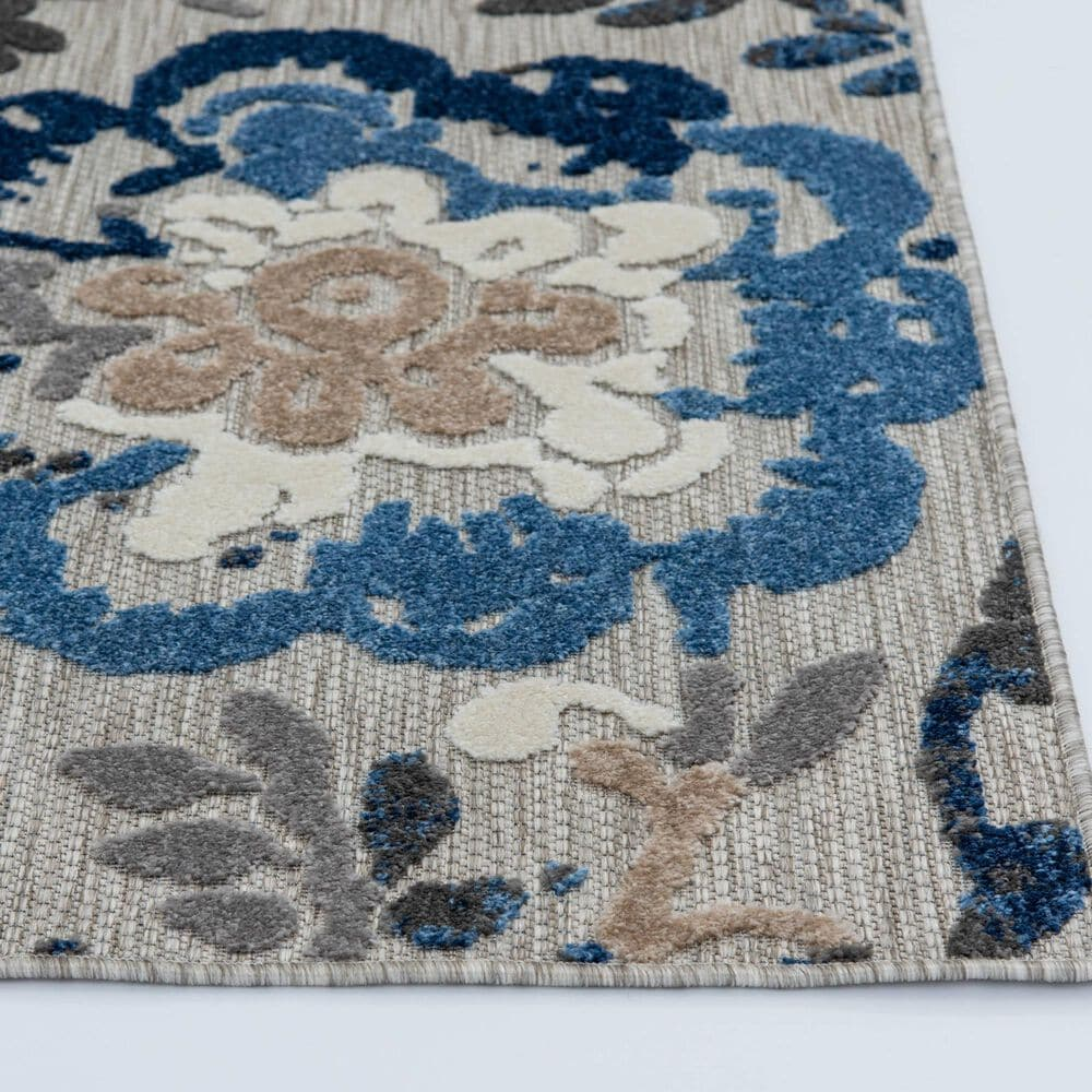"""Central Oriental Fontana Pakuna 1650.61 6'7"""" x 9'2"""" Gray and Blue Area Rug, , large"""