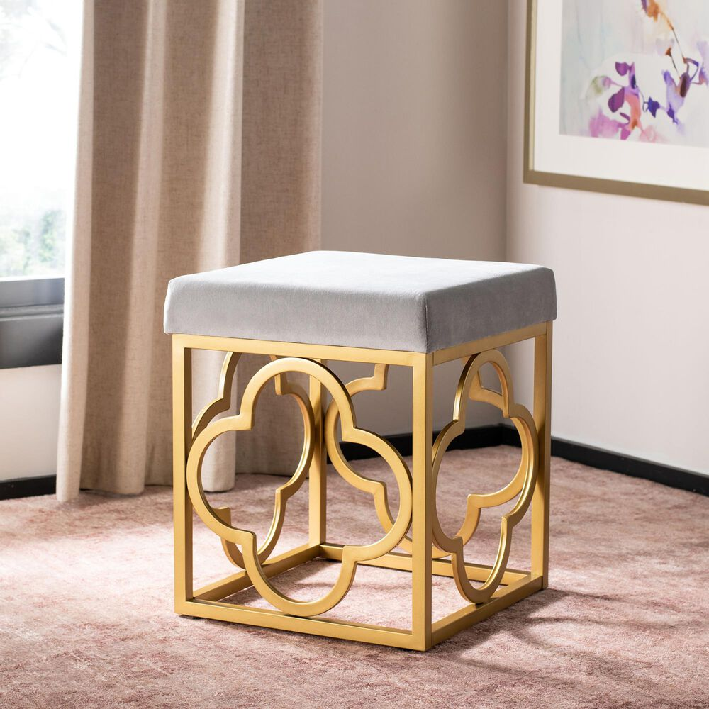 Safavieh Fleur Square Ottoman in Grey and Gold, , large
