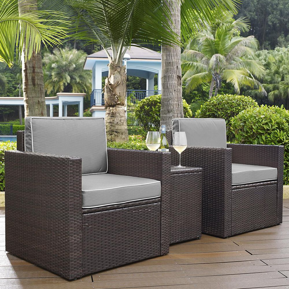 Firefly Palm Harbor 3-Piece Outdoor Wicker Conversation Set with Grey Cushions, , large