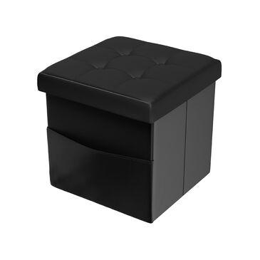Timberlake Lavish Home Storage Ottoman in Black, , large