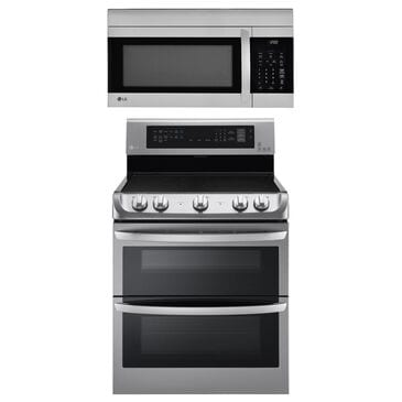 LG 2-Piece Kitchen Package with 7.3 Cu. Ft. Electric Double Oven Range and 1.7 Cu. Ft. Microwave Oven in Stainless Steel, , large