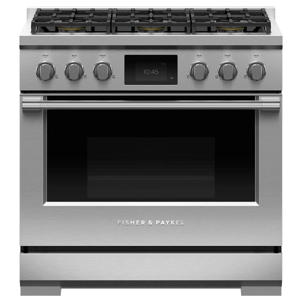 """Fisher and Paykel 36"""" Professional Dual Fuel Range with Natural Gas in Stainless Steel, , large"""