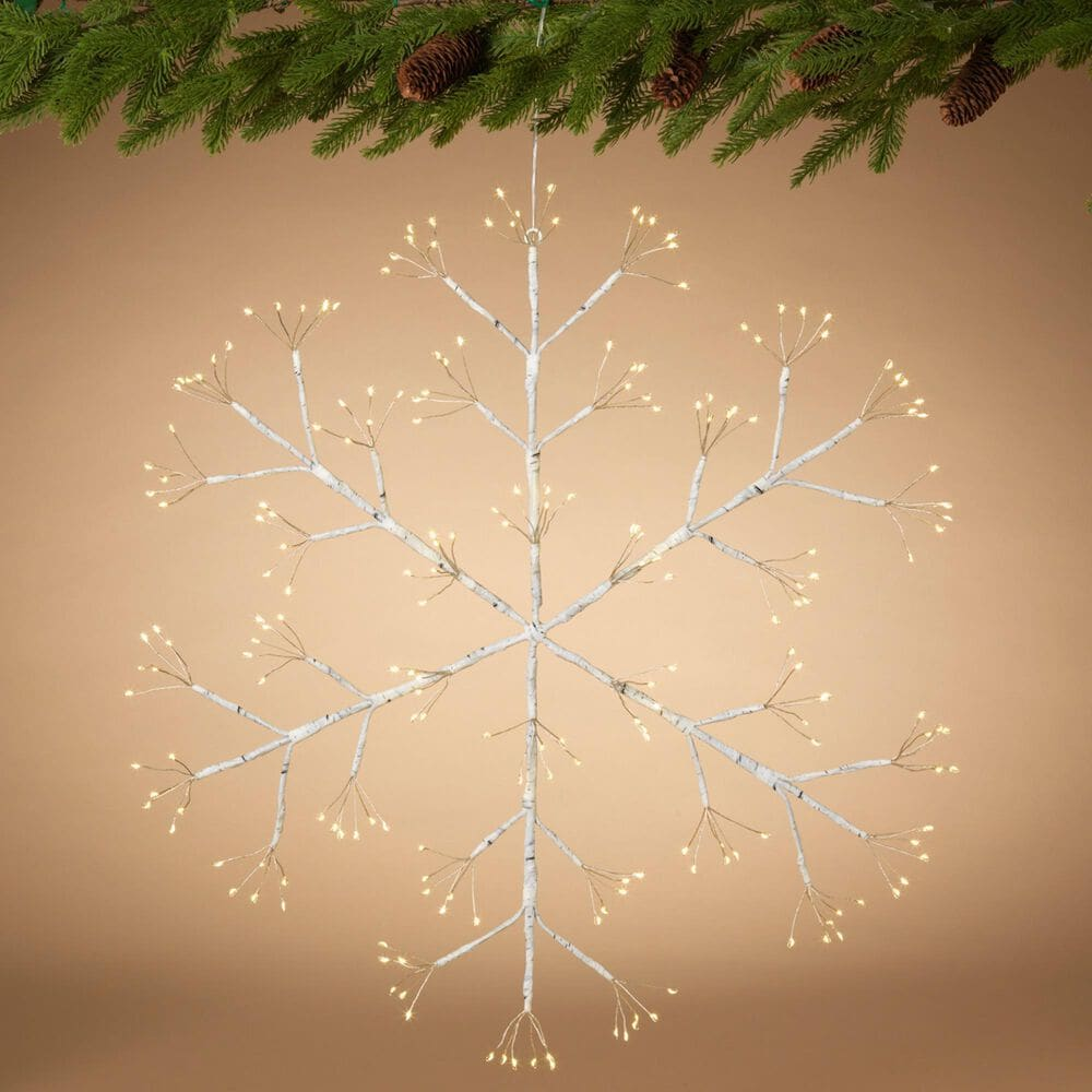 """The Gerson Company 24"""" Firecracker LED Snowflake in White, , large"""
