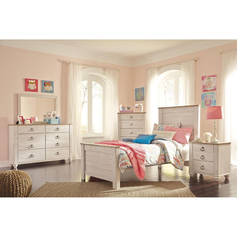 Signature Design by Ashley Willowton 6 Drawer Dresser in Whitewash, , large