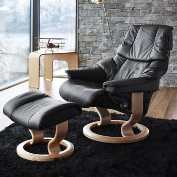 Ekornes Stressless Reno Small Chair and Ottoman in Paloma Black and Natural, , large