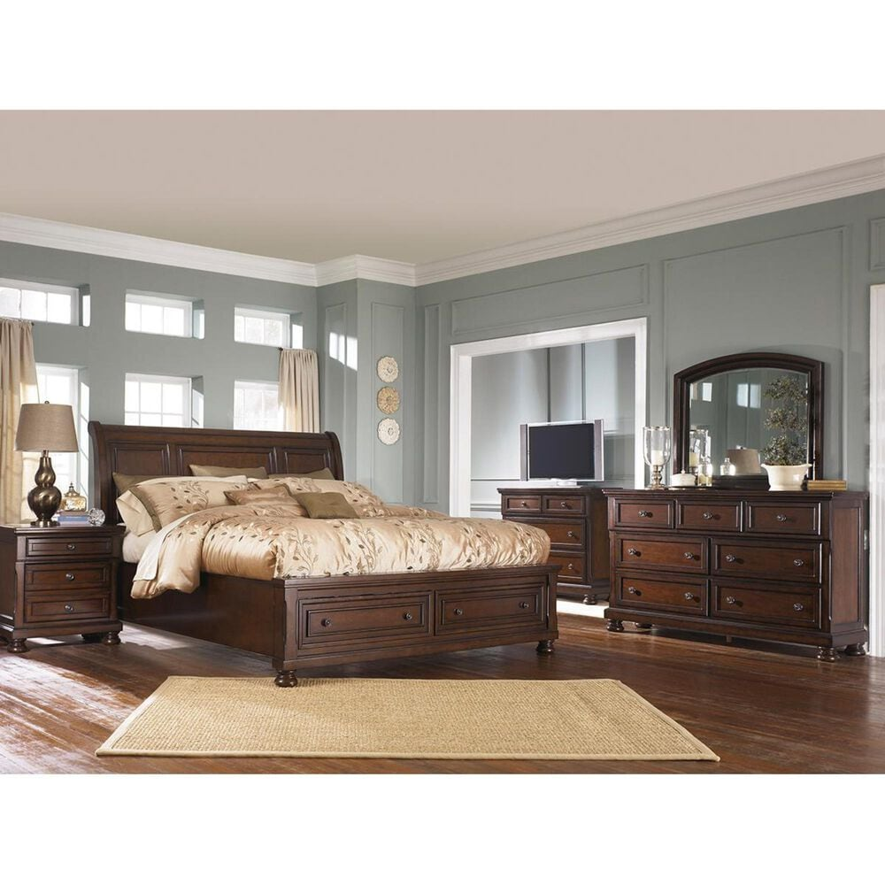 Millennium Porter Cal King Storage Sleigh Bed in Rustic Brown, , large