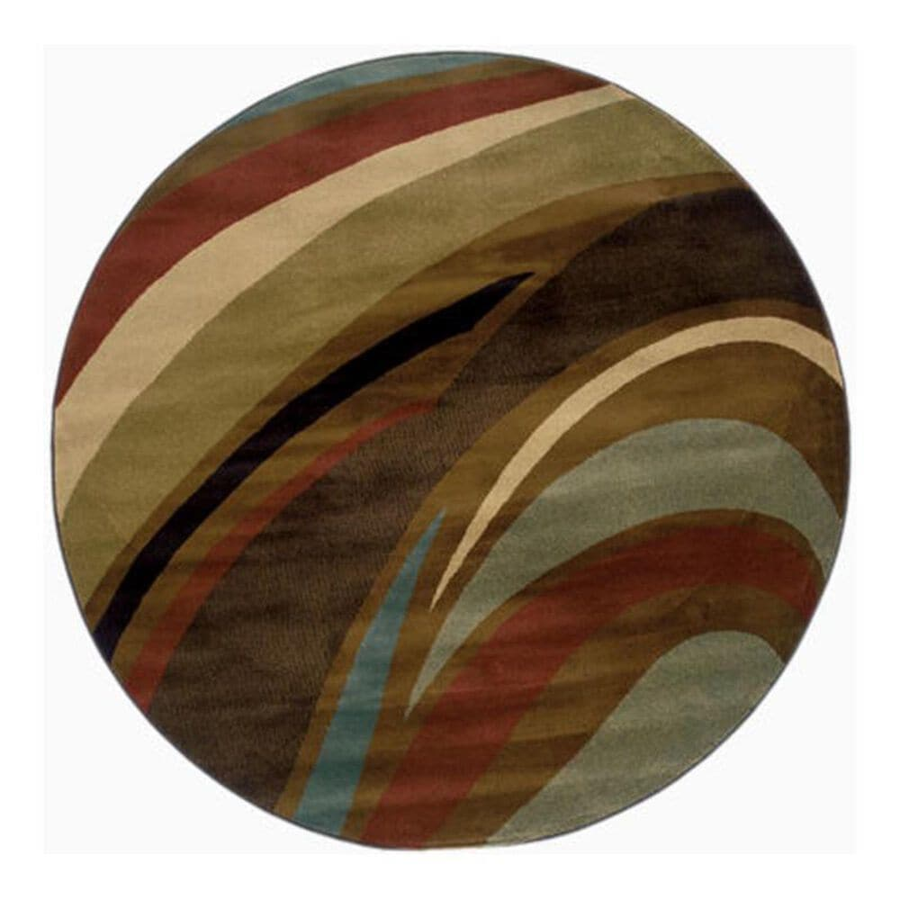 "Oriental Weavers Hudson 2666F 7'8"" Round Brown Area Rug, , large"