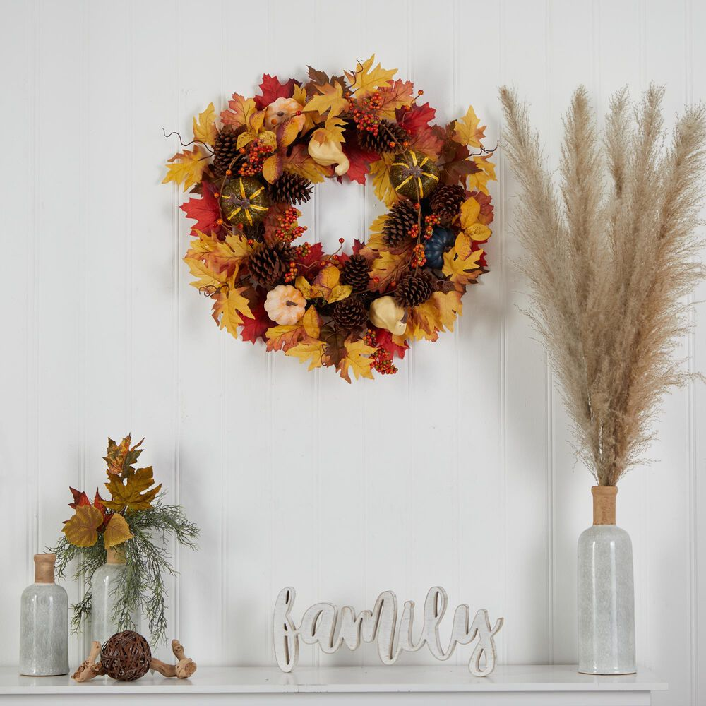 Nearly Natural Inc 26in. Fall Pumpkin, Gourd, Pinecone and Maple Leaf Artificial Autumn Wreath, , large