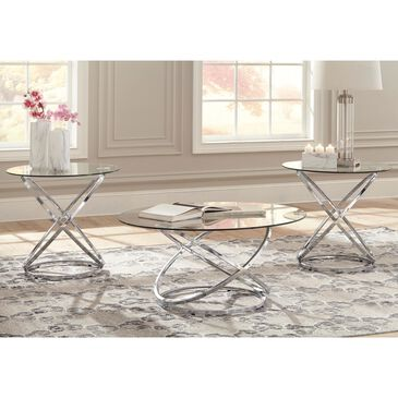 Signature Design by Ashley Hollynyx 3-Piece Occasional Table Set in Chrome, , large