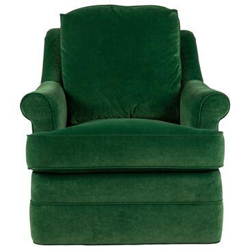 Century Tyler Swivel Chair in Rich Green Velvet, , large