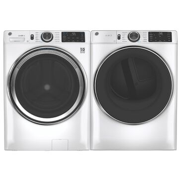 GE Appliances 4.8 Cu. Ft. Front Load Washer and 7.8 Cu. Ft. Electric Dryer Laundry Pair in White , , large