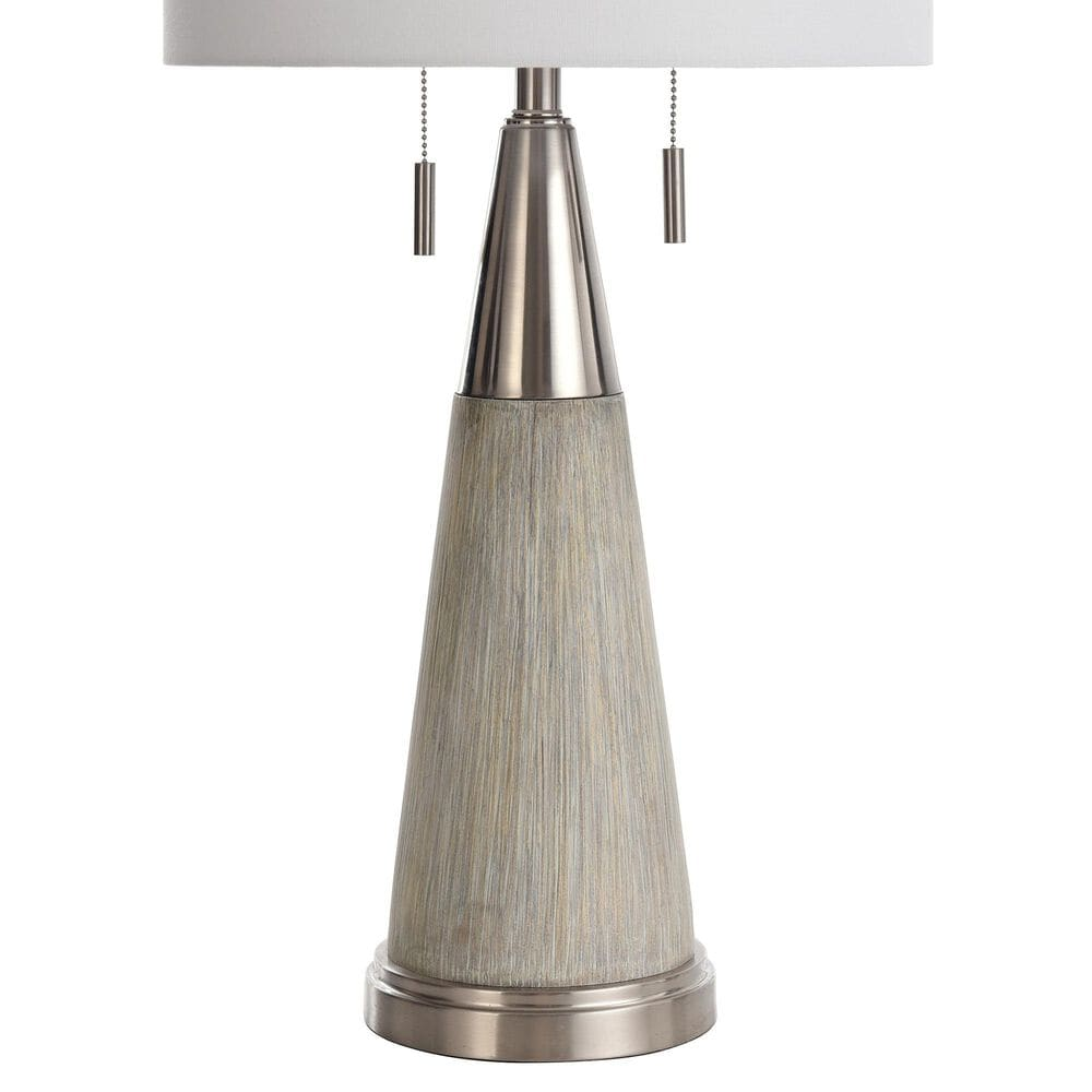 Flair Industries Round Tapered Moulded Table Lamp in Cigala Silver, , large
