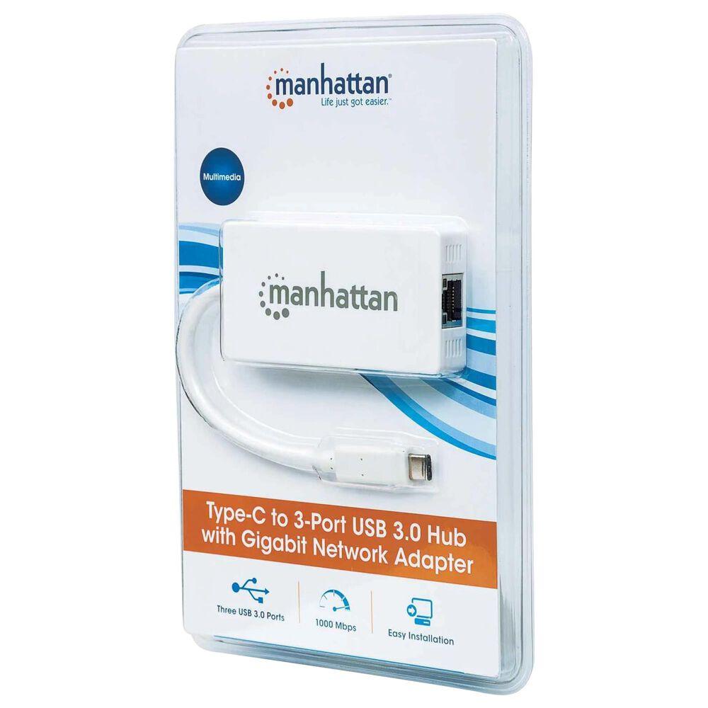 Manhattan Type-C to 3-Port USB 3.0 Hub with Gigabit Network Adapter, , large