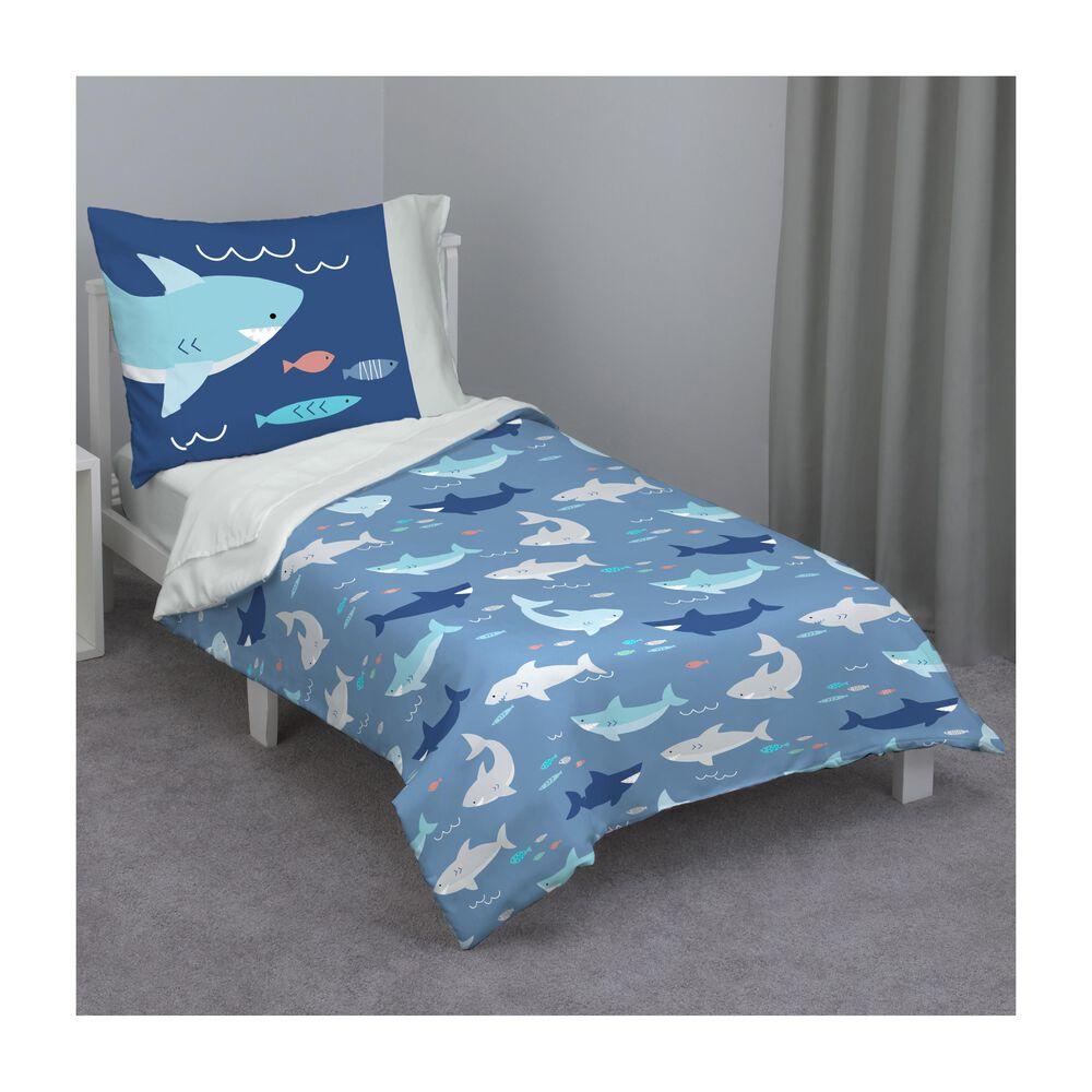 Crown Crafts Shark 4 Piece Toddler Bed Set , , large
