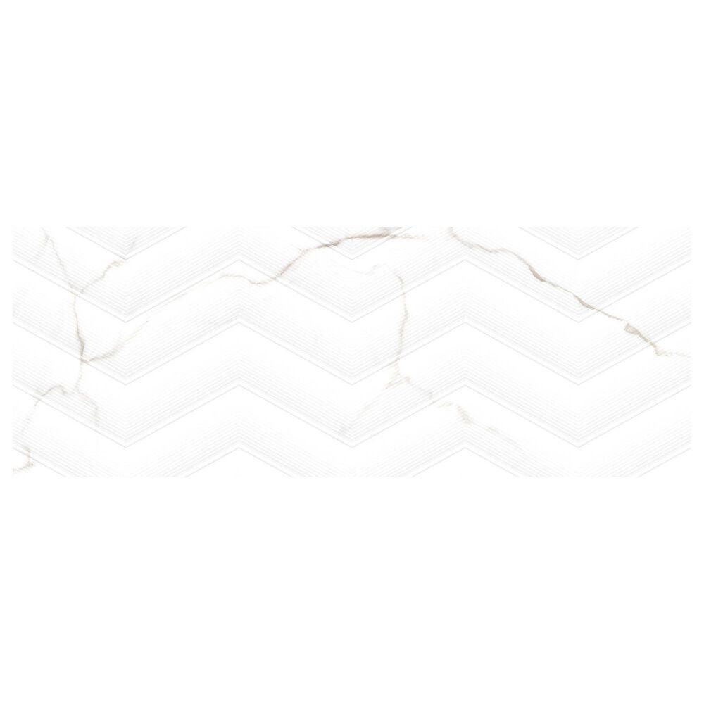 "Emser Sculpture White Chevron 13"" x 36"" Porcelain Tile, , large"