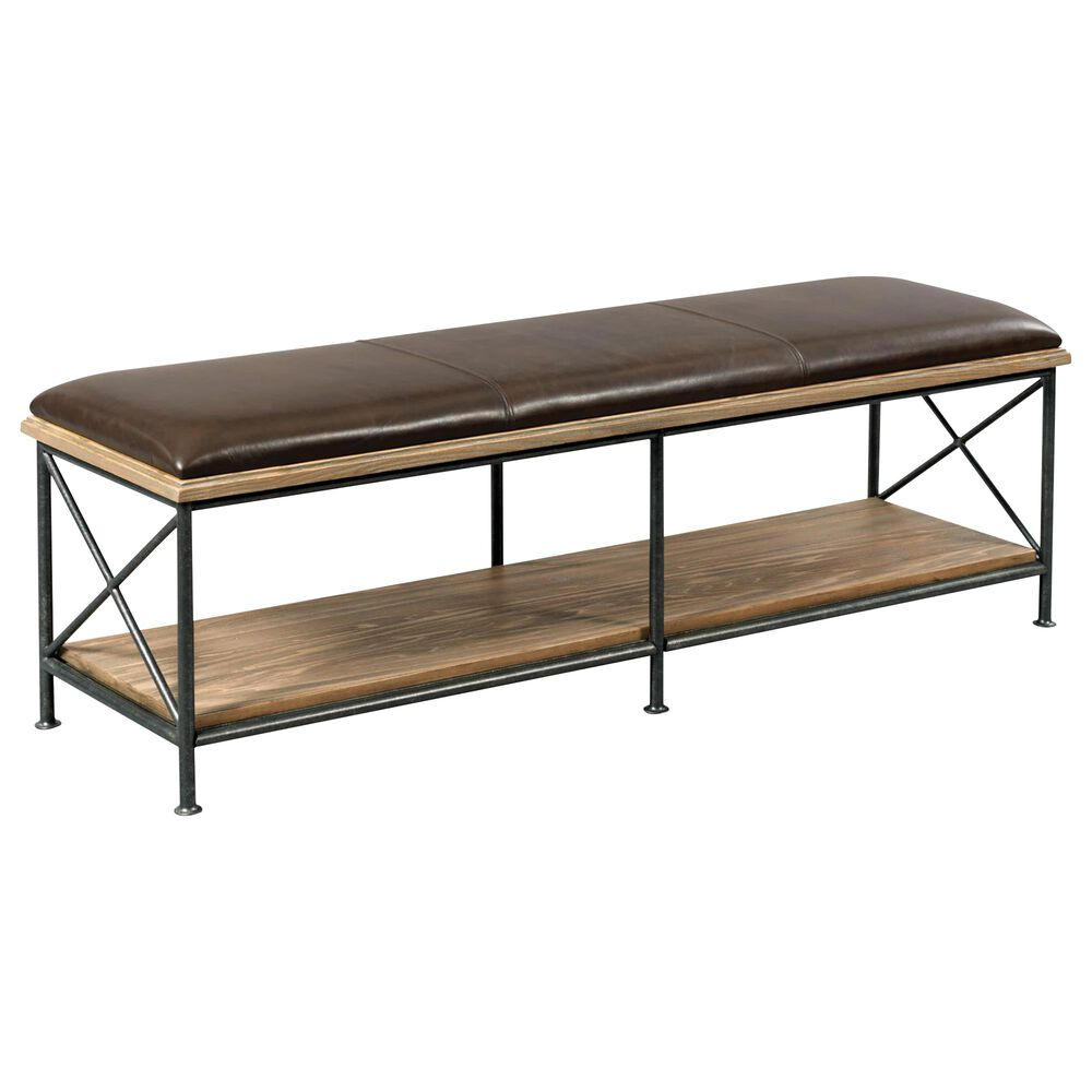 Kincaid Modern Forge Taylor Leather Bed Bench in Sandy Brown Poplar, , large