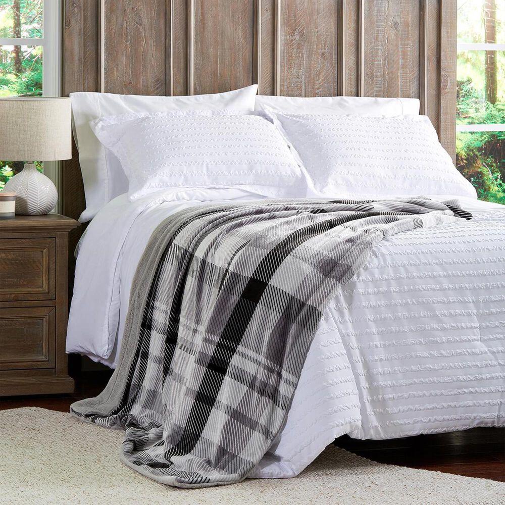 Timberlake Lavish Home Plaid Printed Flannel Blanket in Grey, , large