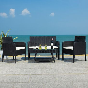 Safavieh Aboka 4-Piece Outdoor Living Set in Black/Beige, , large