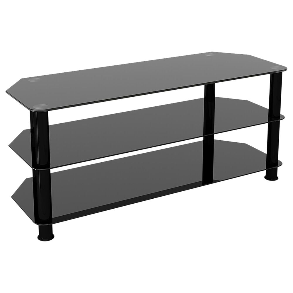 """AVF Group 45"""" Classic Corner Glass TV Stand in Black, , large"""