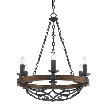 Golden Lighting Madera 6-Light Chandelier in Black Iron, , large