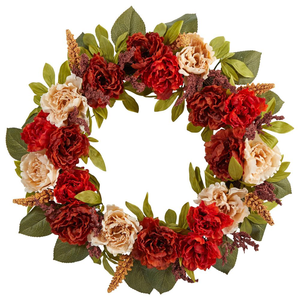 Nearly Natural Inc 30in. Harvest and Peony Artificial Wreath, , large