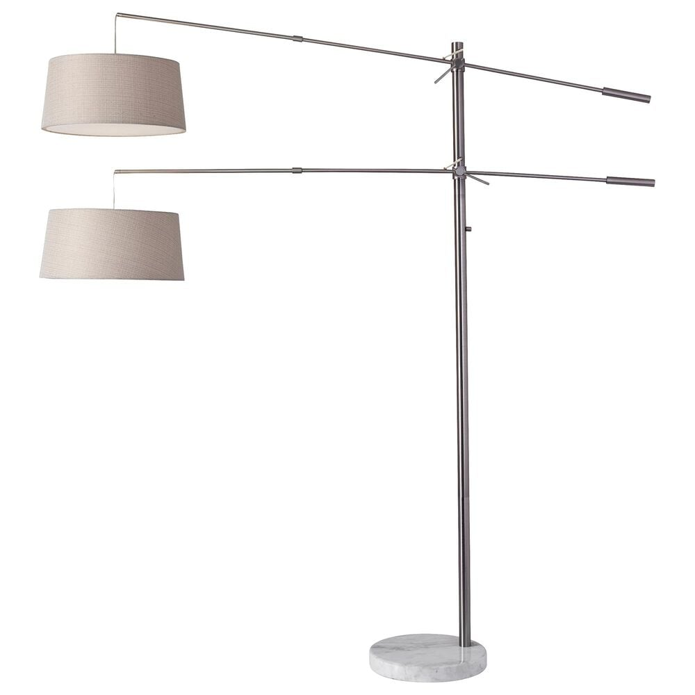 Adesso Manhattan 2-Arm Arc Lamp in Brushed Steel, , large