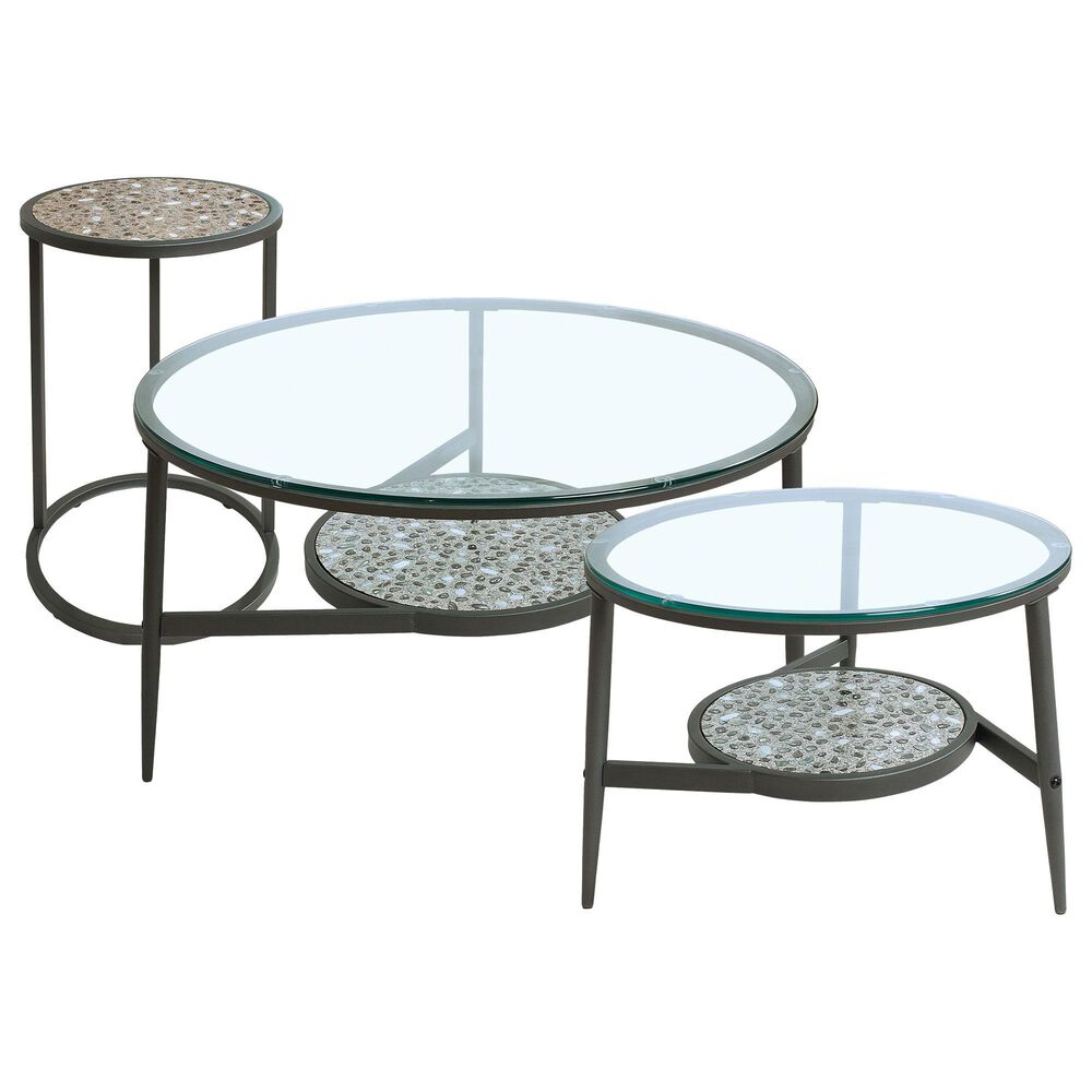 Furniture of America Louie 3-Piece Accent Table Set in Gun Metal, , large